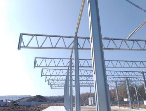 Продолжается активная фаза монтажа сразу 3-х стальных зданий LLENTAB в Киевской области